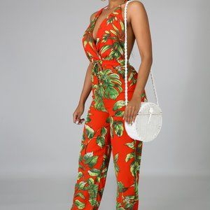 Red & Green Tropical Jumpsuit